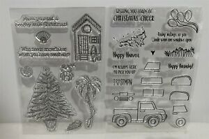 CHRISTMAS TRUCK Pickup Beach Vacation Tropical Christmas Holiday Rubber Stamps