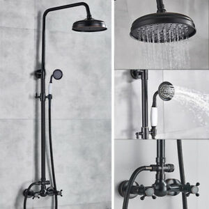 Black Oil Rubbed Brass Rainfall Shower Faucet Set Double Handle With Hand Shower