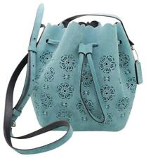 Coach Cut Out Tea Rose Suede Bucket Bag 18, Silver/Marine $250