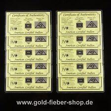 10X 1 GR Platinum Bar .999 Fine, Bullion, Ingot, Nugget, Coin, Gift, Certificate