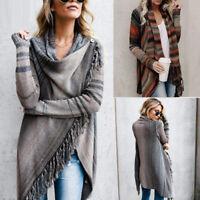 Womens Irregular Tassel Knitted Cardigan Sweater Poncho Shawl Coat Jacket Tops