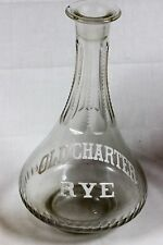 Vintage Pre Pro Old Charter Rye Back Bar Cut Glass Decanter Bottle Whiskey