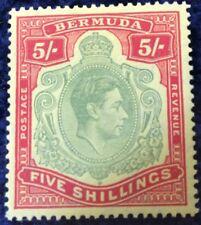 Bermuda George VI 5/- Definitive Red & Green  SG118d Mtd Mint Cat £45 In 2016