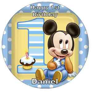 """Mickey Mouse 1st Birthday Personalised Cake Topper 7.5"""" Edible Wafer Paper"""