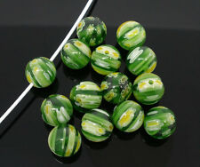 15 x GLASS LAMPWORK BEADS - GREEN TONES - SAME DAY FREE  POSTAGE