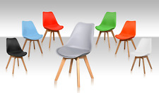 Tulip Dining Office Chair Eiffel Inspired Solid Wood Leg ABS Plastic Padded Seat