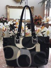 Coach Signature Black Gray Pat.Leather Inlaid Tote Bag F17127 EUC RARE MSRP $428