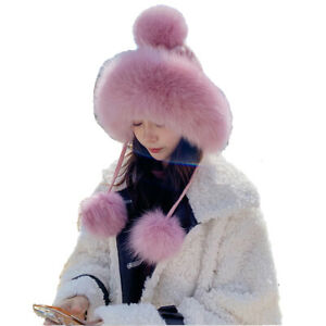 Real Fox Fur Hat Winter Warm Wool Cap Earmuffs With Pompom Soft Beige Grey Pink