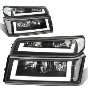 For 2004-2012 Colorado Canyon Black/Clear Corner LED DRL Headlight Bumper Lamps