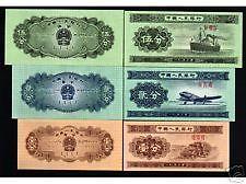China 1953 1, 2, 5 Fen (=1,2, 5 cent) Banknotes (UNC)