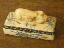 Oriental Trinket Box #2006 Three Bunny Bone Box, NEW in Box From Retail Store