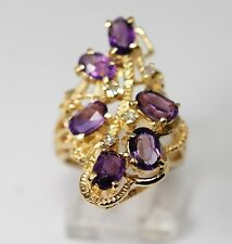 Vintage Estate Amethyst Diamond Ring Freeform Floral Large Grapevine 2.15cts