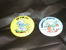 Vintage Peyo 1980 Russ Berrie Smurf Buttons Pins lot of 2