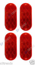 4 PC 4 1/2 X 2 INCH ROUND RECTANGLE OVAL ADHESIVE STICK ON REFLECTOR RED MAILBOX