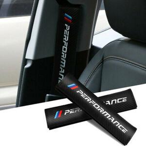 2X For BMW Car Seat Belt Safety Shoulder Strap Cover Cushion Pad Carbon Fiber