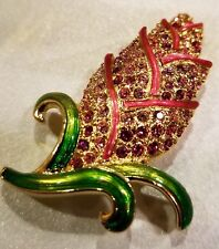 AUTHENTIC SWAN SIGNED SWAROVSKI EXOTIC FLOWER PIN BROOCH 1514020 NEW