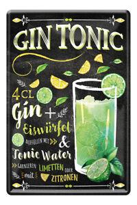 Gin Tonic Cocktail Drink Zutaten Rezept Retro Deko Bar Blechschild 20x30cm A0595
