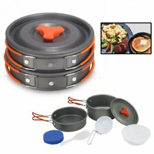 8Pcs/ Set Portable Outdoor Cooking Camping Hiking Cookware Picnic Bowl Pot Pan