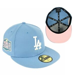 Dodgers World Series 2020 Side Patch Light Blue New Era Fitted Hat Cap Pink UV