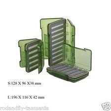 Fly Box R&F Olive Green Transparent Waterproof Slit Foam Fly Box Sm 128×96×38mm