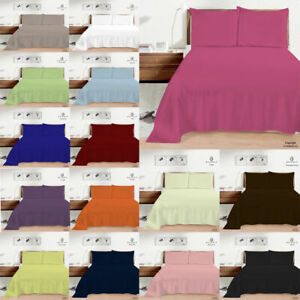 Plain Dyed Flat Sheet Bed Sheets Poly Cotton Percale Single Double King Size