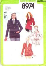 Simplicity Misses Lined or Unlined Blazers #8974 Size 6-8 New Uncut