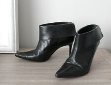 Ravel Black Leather Pointed Stiletto Ankle Boots Heels Shoes UK 3