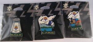 "Salt Lake City 2002 Olympic Game ""Salt"" ""Lake"" ""City"" 3 Pins Puzzle Pin Set"