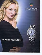 PUBLICITE ADVERTISING 094 2008 TAGHeur montre avec Uma Thurman
