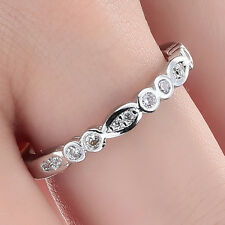 Women Fashion 925 Silver White Sapphire Gemstone Ring Engagement Jewelry Size 8