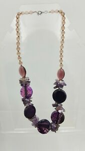 Amethyst Chip & Purple Glass Beaded Statement Necklace