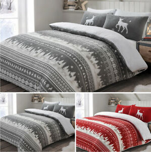 Soft Cosy Teddy Bedding Nordic Grey Red Christmas Duvet Cover & Pillowcase Set