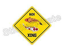 "*Aluminum* Koi Crossing Funny Metal Novelty Sign 12""x12"""