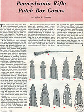 1961 Print Article of Pennsylvania Rifle Patch Box Covers