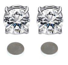 Silver Round CZ Crystal Magnetic Earrings Magnet Stud Clip Women Girls Men 6mm