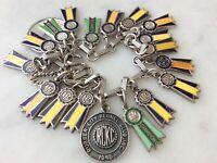 18Vintage Sterling Silver Enamel Dog Ribbon Charms Bracelet American Kennel Club