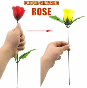 COLOUR CHANGING ROSE RED CHANGE TO A YELLOW FLOWER NEW INSTANT STAGE MAGIC TRICK