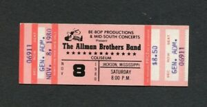 1980 Allman Brothers Unused Full Concert Ticket Jackson MS Reach For The Sky