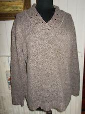 Pull chaud acrylique laine alpaga marron chiné BEXLEYS L 44/46 Col V clouté