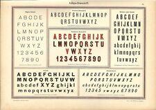 Stampa antica ALFABETI e NUMERI Stile ANTIQUA 1898 Old Print Alphabet Writing