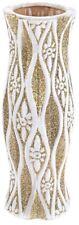 Table Standing Flower Vase White & Gold Ceramic Vase 30cm Tall