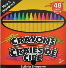Crayons With Built-In Sharpener Box of 48 Non Toxic W free Pencil Sharpener