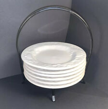 6 Dessert Plates, With Iron Caddy, Signature Housewares Stoneware White Embossed