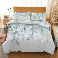Green Willow Leaf 3D Printing Duvet Quilt Doona Covers Pillow Case Bedding Sets