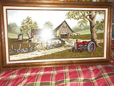 "H. HARGROVE ""VINTAGE FARM & TRACTOR"" - 12"" X 24"" FRAMED SERIGRAPH SIGNED"