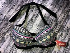 Womens S Push Up Bikini Bathing Suit Top Strappy Black & Multi New