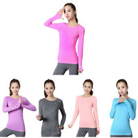 Shirt Women Gym Sports Fitness Women Running Clothes For Women Solid Long S X5T4