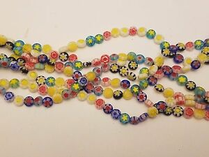 Handmade Millefiori Flat Round Glass Beads, Single Flower Design, Mixed Color
