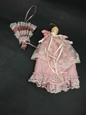 """Shabby Chic Pink W/Lace 9""""Angel and Victorian Fan Ornament"""