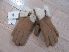 UGG AUSTRALIA WOMENS CHESTNUT BROWN SUEDE BOW GLOVES, NWT, S